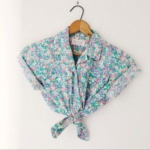Vintage floral daisy button up shirt collar S/M